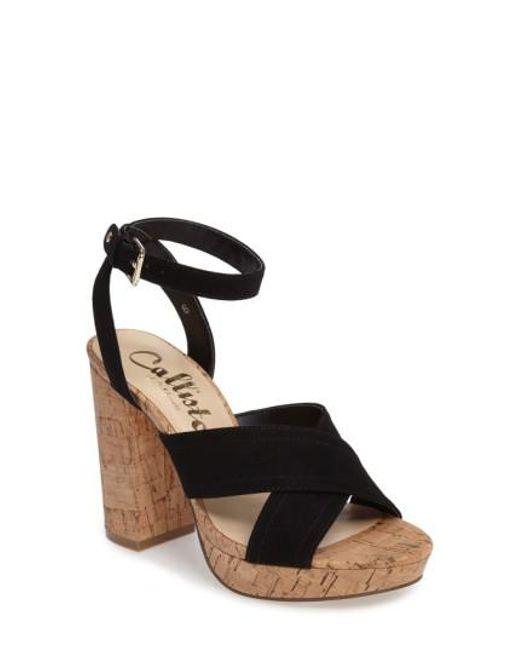 Callisto | Black Windye Platform Ankle Strap Sandal | Lyst