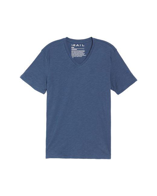 The Rail - Blue Slub Cotton V-neck T-shirt for Men - Lyst
