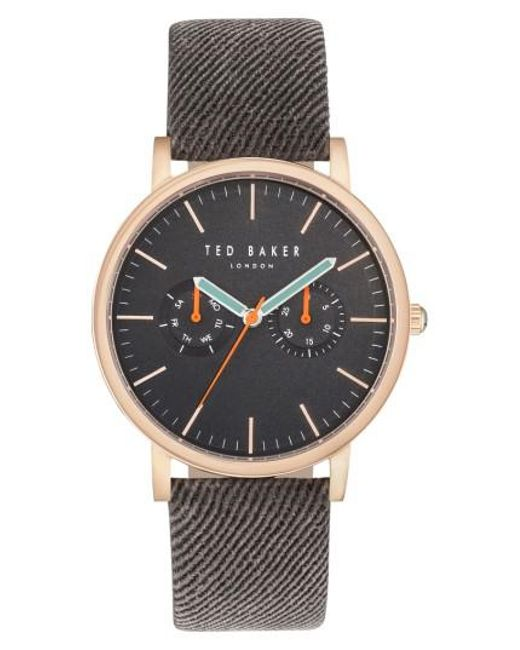 Ted Baker   Gray Brit Multifunction Textured Canvas Strap Watch   Lyst