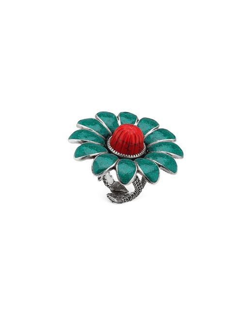Gucci - Green Gg Marmont Flower Ring - Lyst