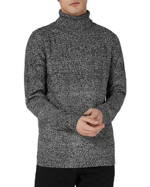 Topman | Gray Twist Roll Neck Sweater for Men | Lyst
