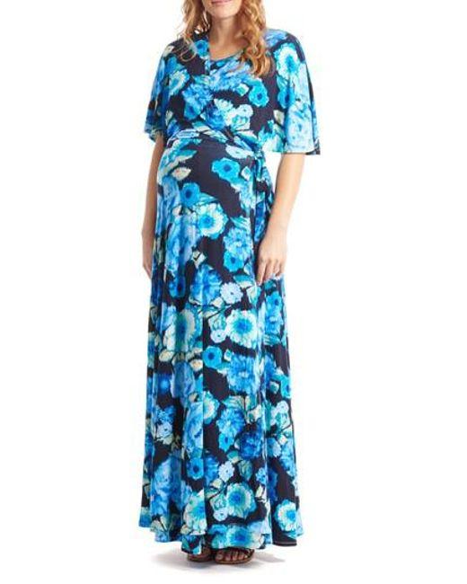 Everly Grey - Blue Asa Maternity/nursing Maxi Wrap Dress - Lyst