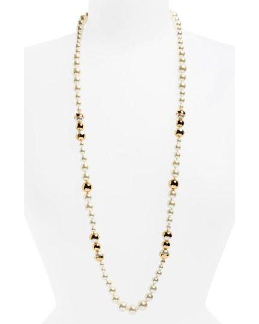 Tory Burch - Metallic Imitation Pearl Strand Necklace - Lyst