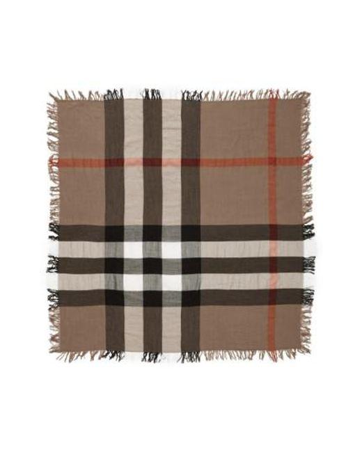 Burberry | Brown Check Merino Wool Scarf | Lyst