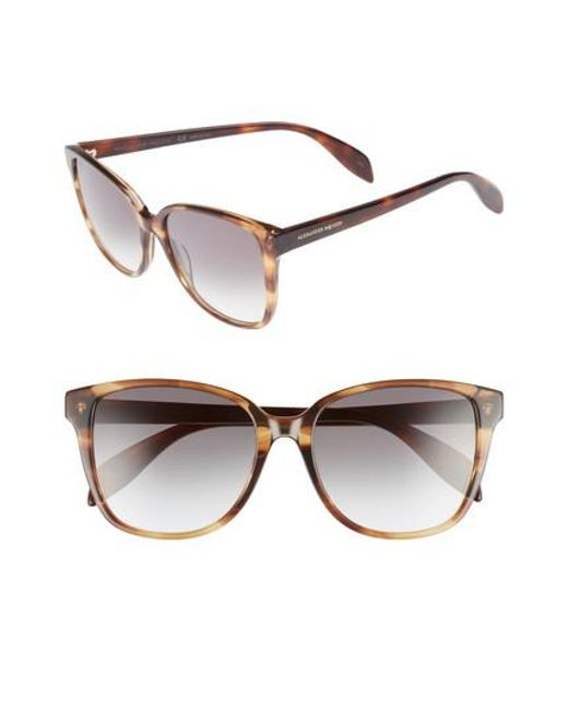Alexander McQueen - Brown 56mm Sunglasses - Havana - Lyst