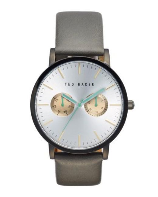 Ted Baker   Gray Multifunction Leather Strap Watch for Men   Lyst