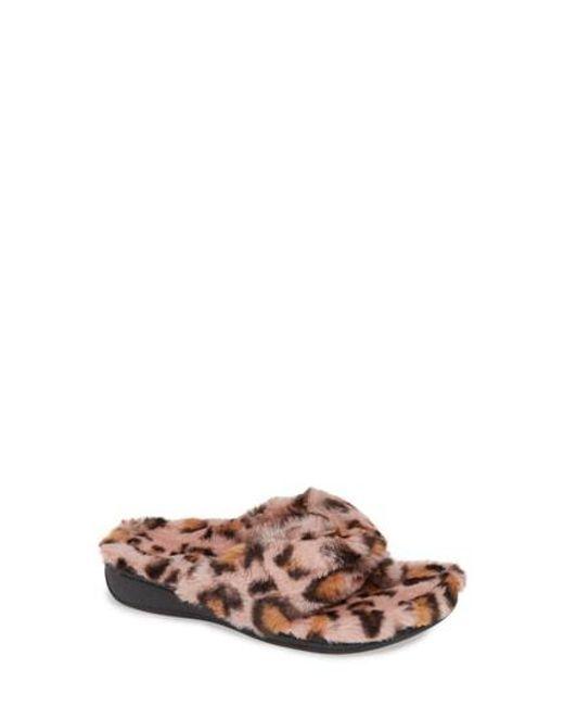 bf86e08cecb16 Vionic - Multicolor Gracie Leopard Print Faux Fur Slipper - Lyst