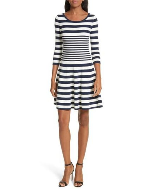 MILLY | Blue Striped Ottoman Fit & Flare Dress | Lyst