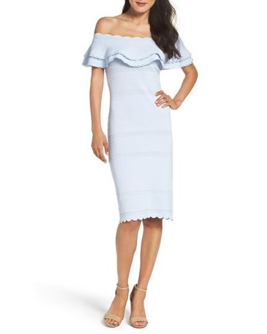 Cheap Discount Sale Eliza J Off-the-Shoulder Ruffle Dress Pre Order For Sale 9H8NBDha
