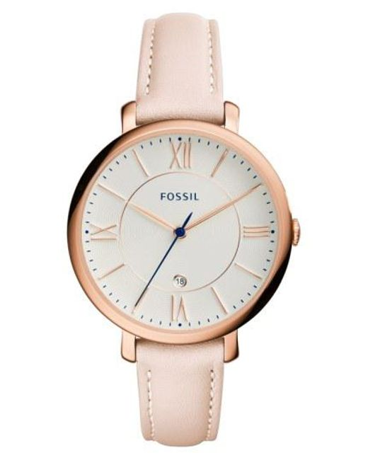 Fossil - Metallic 'jacqueline' Leather Strap Watch - Lyst