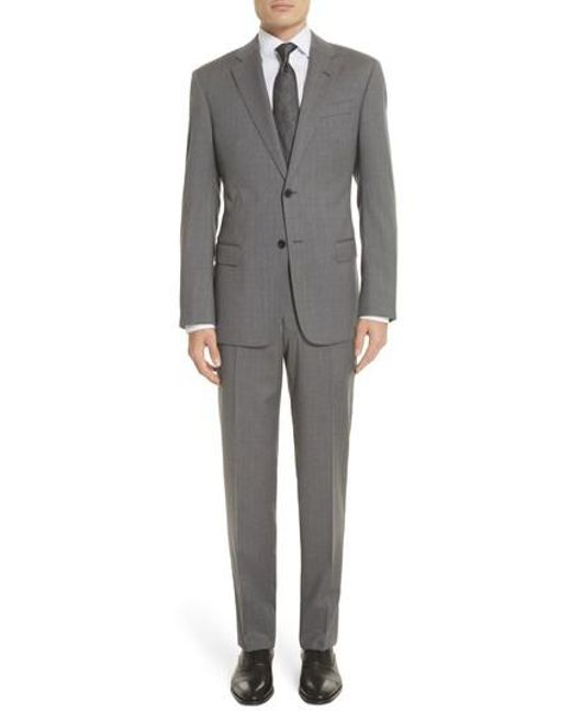 Emporio Armani - Gray Trim Fit Sharkskin Wool Suit for Men - Lyst