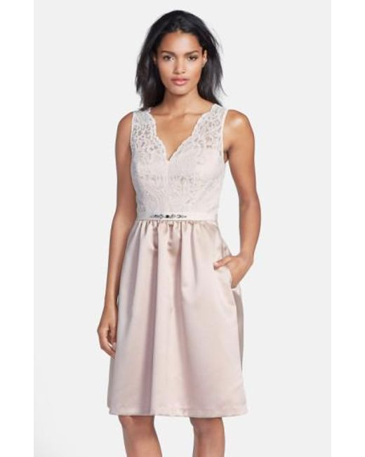 After Six   White Embellished Lace With Satin Fit & Flare Dress   Lyst