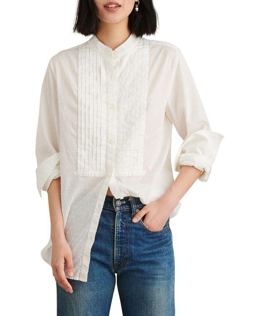 Alex Mill White Swiss Dot Tux Shirt