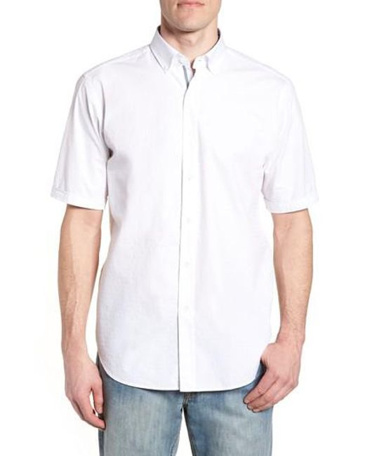 Bugatchi - White Classic Fit Textured Sport Shirt for Men - Lyst