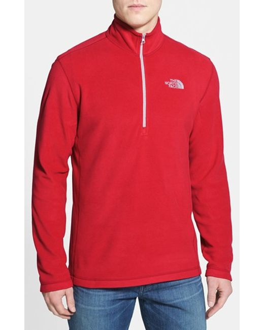 The North Face | Red Tka 100 Glacier Quarter Zip Fleece Pullover for Men | Lyst