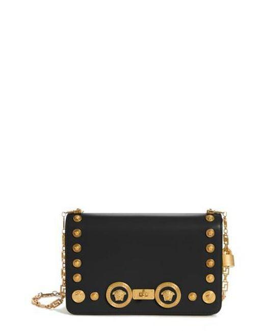 4fa2b82f33a Lyst - Versace Icon Studded Leather Crossbody Bag - in Black