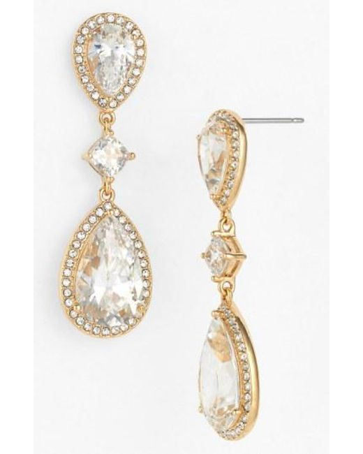 Nadri - Metallic Cubic Zirconia Drop Earrings - Lyst