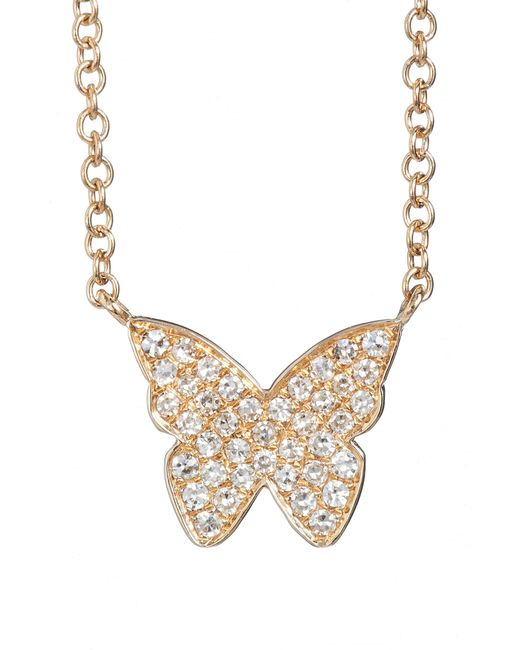 EF Collection - Metallic Diamond Butterfly Pendant Necklace - Lyst