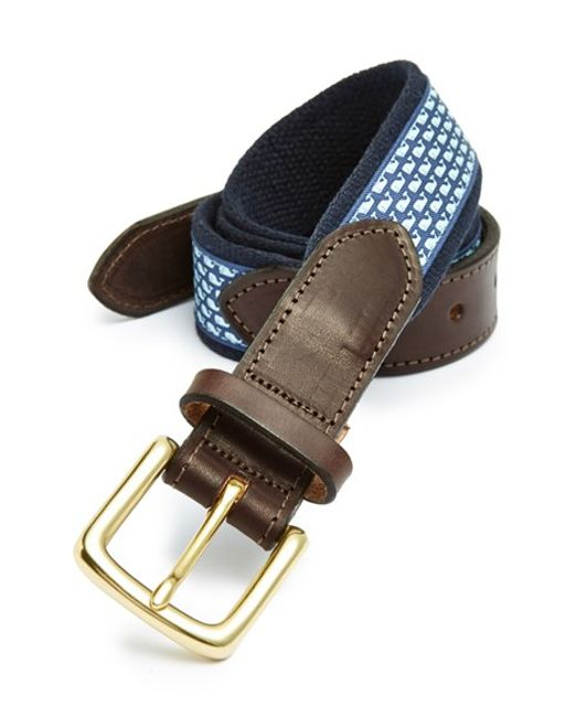 Vineyard Vines | Blue 'whale Club' Leather & Canvas Belt for Men | Lyst