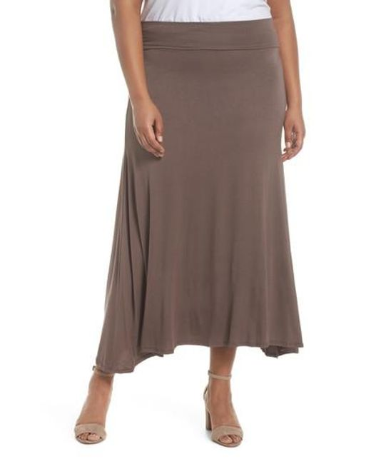 Soprano - Brown Foldover Knit Skirt - Lyst