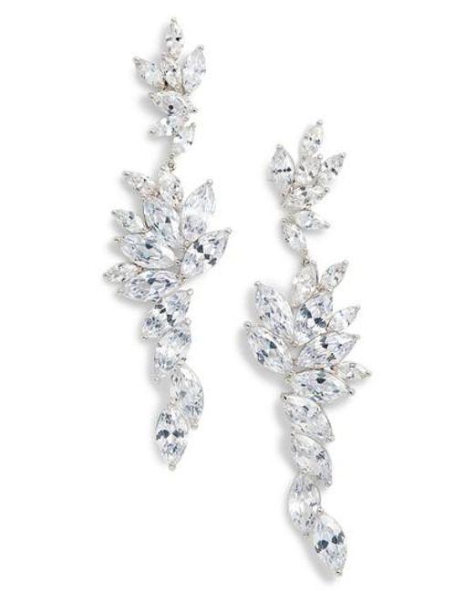 Nina - Metallic Layered Marquise Cubic Zirconia Statement Earrings - Lyst