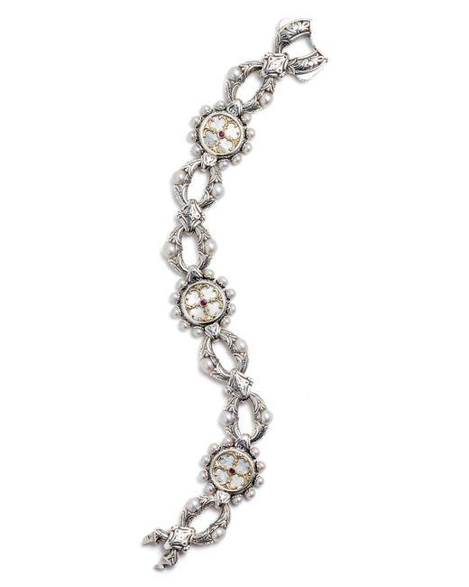 Konstantino - Metallic Silver Mother-of-pearl & Ruby Bracelet - Lyst