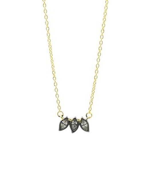 Freida Rothman | Metallic Fleur Bloom Triple Leaf Pendant Necklace | Lyst