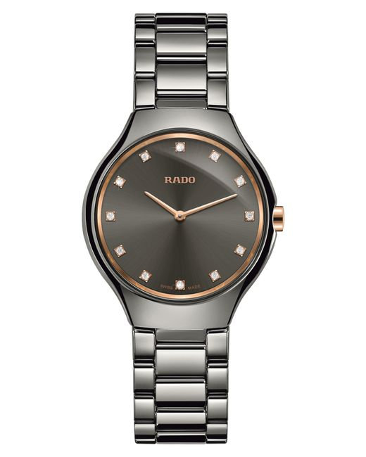 Rado - Metallic True Thinline Diamond Ceramic Bracelet Watch - Lyst
