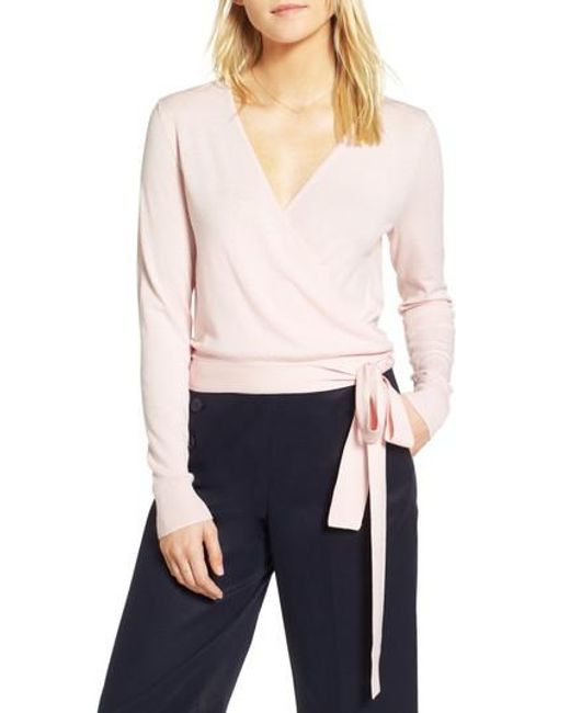 Nordstrom - Pink 1901 Wrap Sweater - Lyst