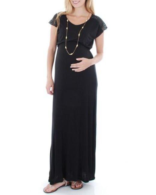 Everly Grey | Black Lace Yoke Maxi Maternity Dress | Lyst