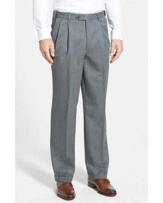 Berle   Blue Self Sizer Waist Pleated Wool Gabardine Trousers for Men   Lyst