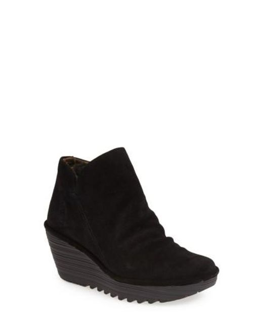 Fly London | Black 'yip' Wedge Bootie | Lyst