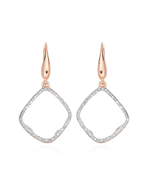 Monica Vinader - Pink Riva Diamond Hoop Drop Earrings - Lyst