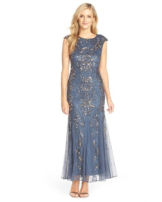 Pisarro Nights | Gray Beaded Mermaid Dress | Lyst