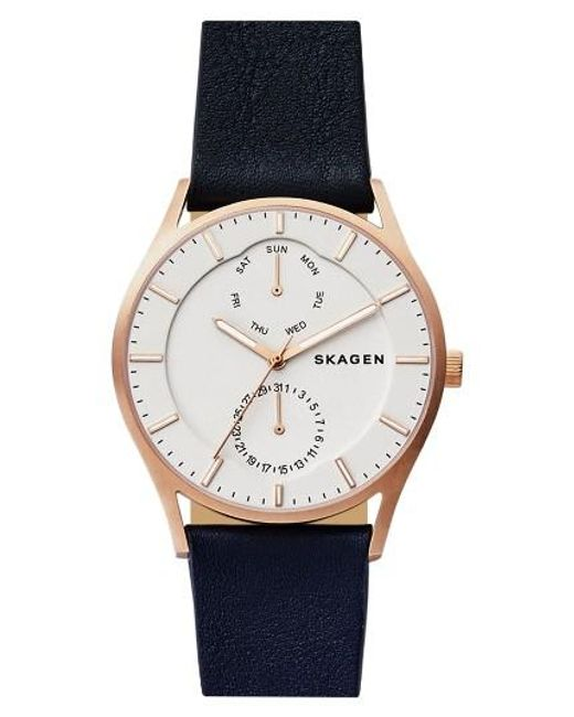 Skagen | Metallic 'holst' Multifunction Leather Strap Watch | Lyst