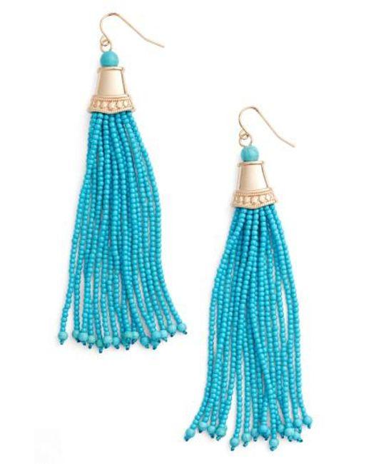 Adia Kibur - Blue Beaded Tassel Earrings - Lyst