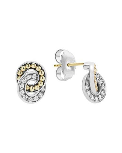 Lagos   Metallic Enso Diamond Stud Earrings   Lyst
