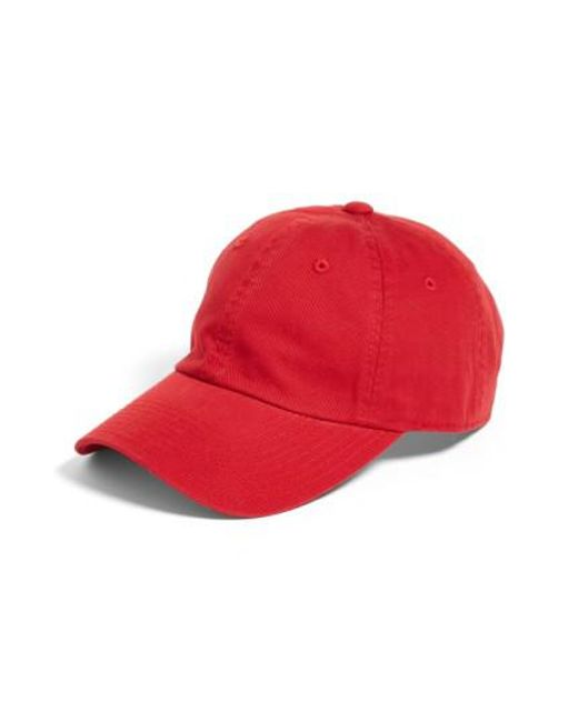 American Needle - Red Washed Cotton Baseball Cap - - Lyst