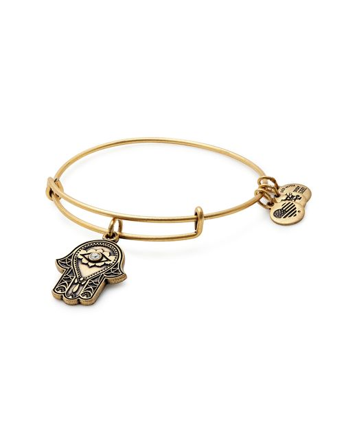 ALEX AND ANI - Metallic Hand Of Fatima Adjustable Wire Bangle - Lyst