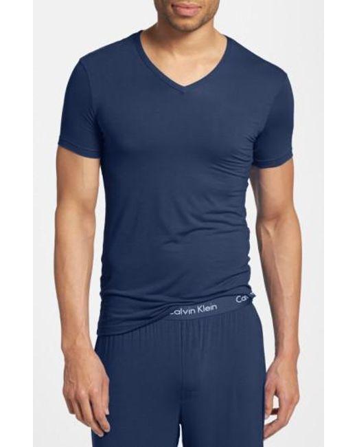 CALVIN KLEIN 205W39NYC - Blue 'u5563' V-neck Micromodal T-shirt for Men - Lyst