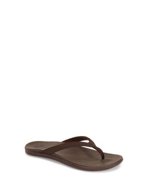 Olukai | Brown Ho Opio Water-Resistant Flip-Flops | Lyst