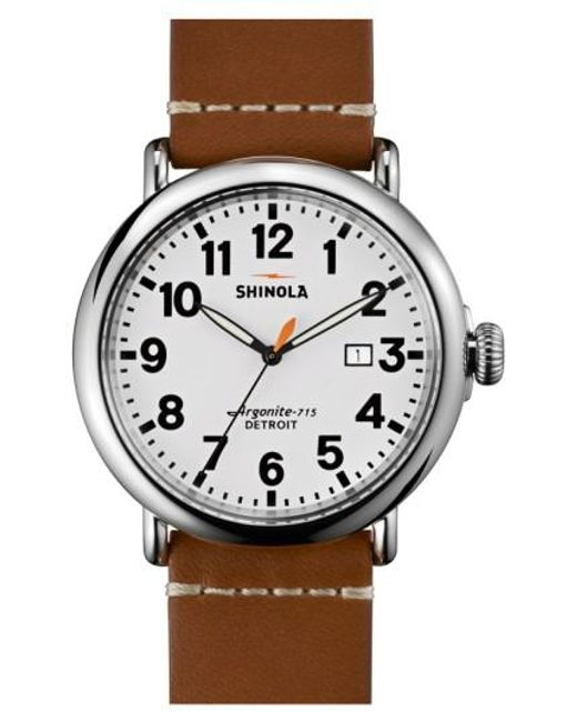 Shinola | Brown 'the Runwell' Round Leather Strap Watch for Men | Lyst