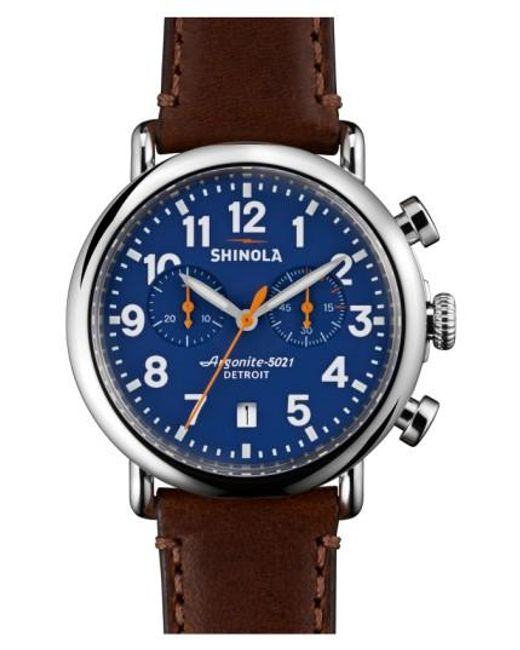Shinola | Brown 'the Runwell Chrono' Leather Strap Watch for Men | Lyst