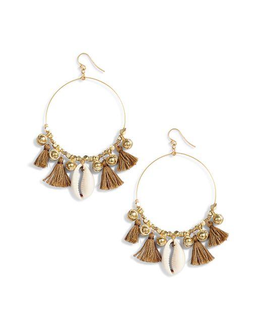 Chan Luu - Metallic Tassel & Cowry Shell Hoop Earrings - Lyst