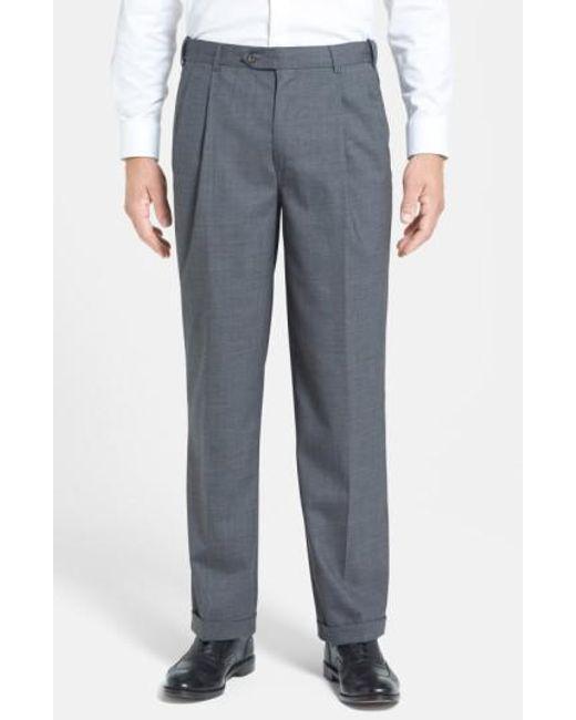 Berle | Blue Self Sizer Waist Pleated Wool Gabardine Trousers for Men | Lyst