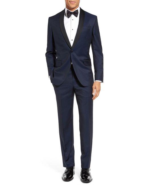 Ted Baker - Black 'josh' Trim Fit Navy Shawl Lapel Tuxedo for Men - Lyst