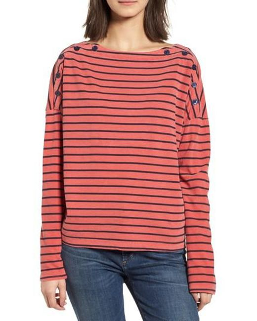 Stateside - Red Stripe Button Tee - Lyst