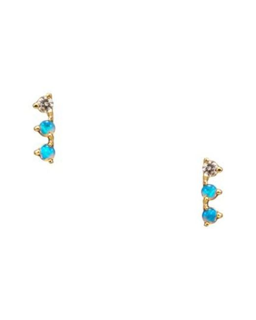 Wwake | Metallic Counting Collection Three-step Opal & Diamond Statement Earrings | Lyst