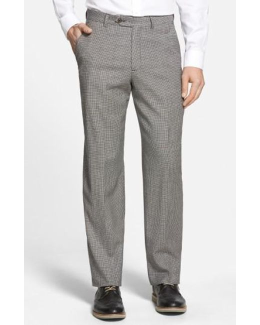 Berle   Gray Flat Front Houndstooth Wool Trousers for Men   Lyst