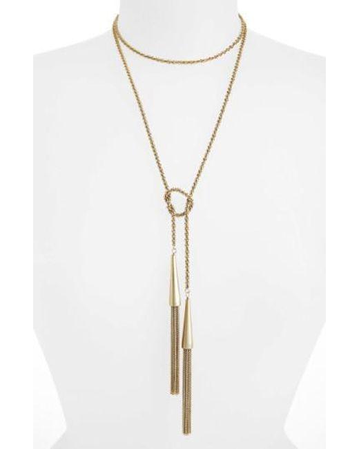 Kendra Scott - Metallic 'phara' Tassel Lariat Necklace - Lyst